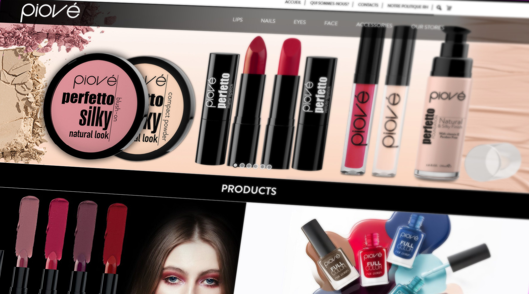 Site Web Piové Cosmetics